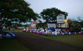 Christmas decoration and lights at Cleveland Uniting Church